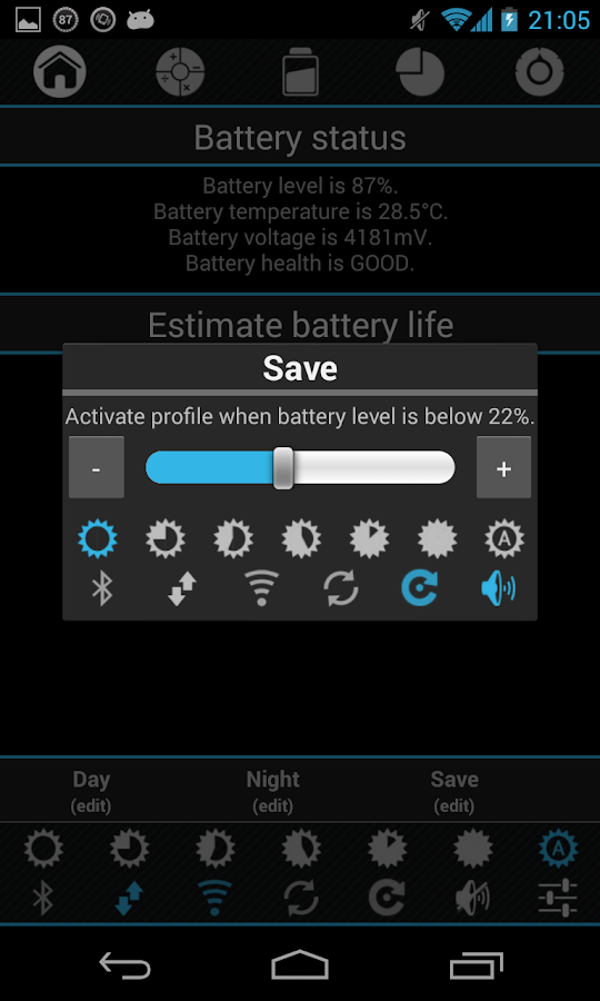 Battery saver with widget - screenshot