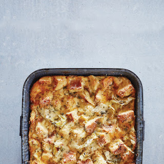 Savory Bread Pudding with Artichokes and Two Cheeses