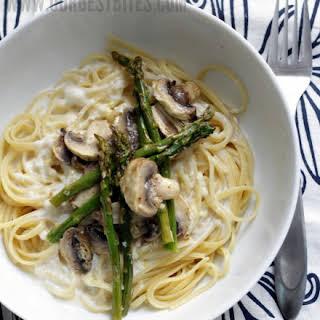 Roasted Asparagus and Mushroom Pasta in Lemon-Cream Sauce.