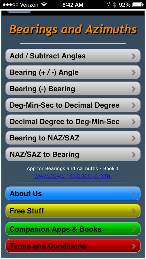 Bearings and Azimuths- screenshot