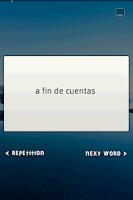 Screenshot of Flash Card Widget Idioms ES-EN