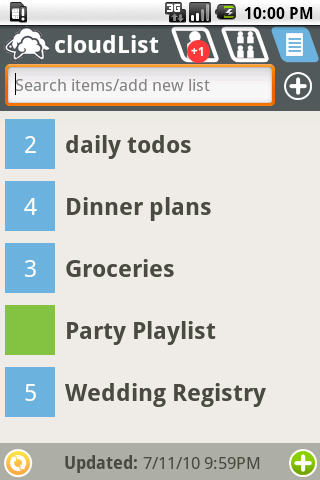 cloudListPro to-do list - screenshot