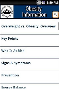 NIH: Obesity Information- screenshot thumbnail