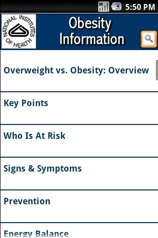 NIH: Obesity Information - screenshot