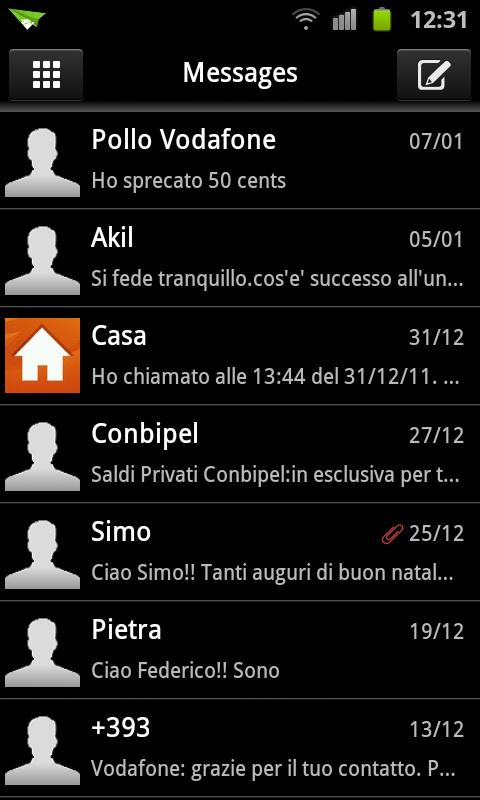 GO SMS Deep Black Theme - screenshot