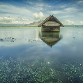 Lake House by Kristianus Setyawan - Nature Up Close Water ( bali, water reflection, skyline, mountain, waterscape, indonesia tourism, lake, house, algae, landscape, nature, indonesia, skyporn, mount batur, lake batur, landscape photography, nature photography, skyscape )