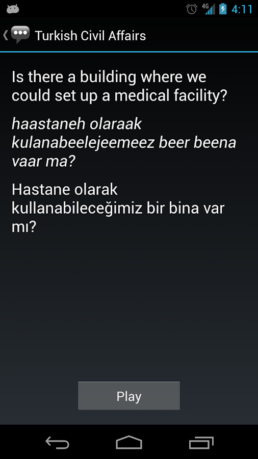 Turkish Civil Affairs Phrases - screenshot