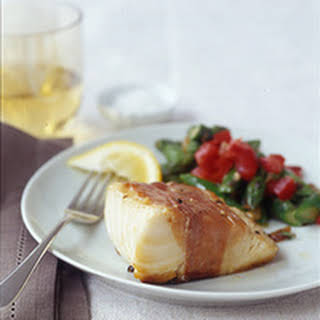 Crispy Prosciutto-Wrapped Cod and Asparagus Salad.