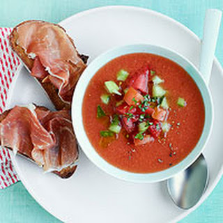 Watermelon Gazpacho with Prosciutto Toasts
