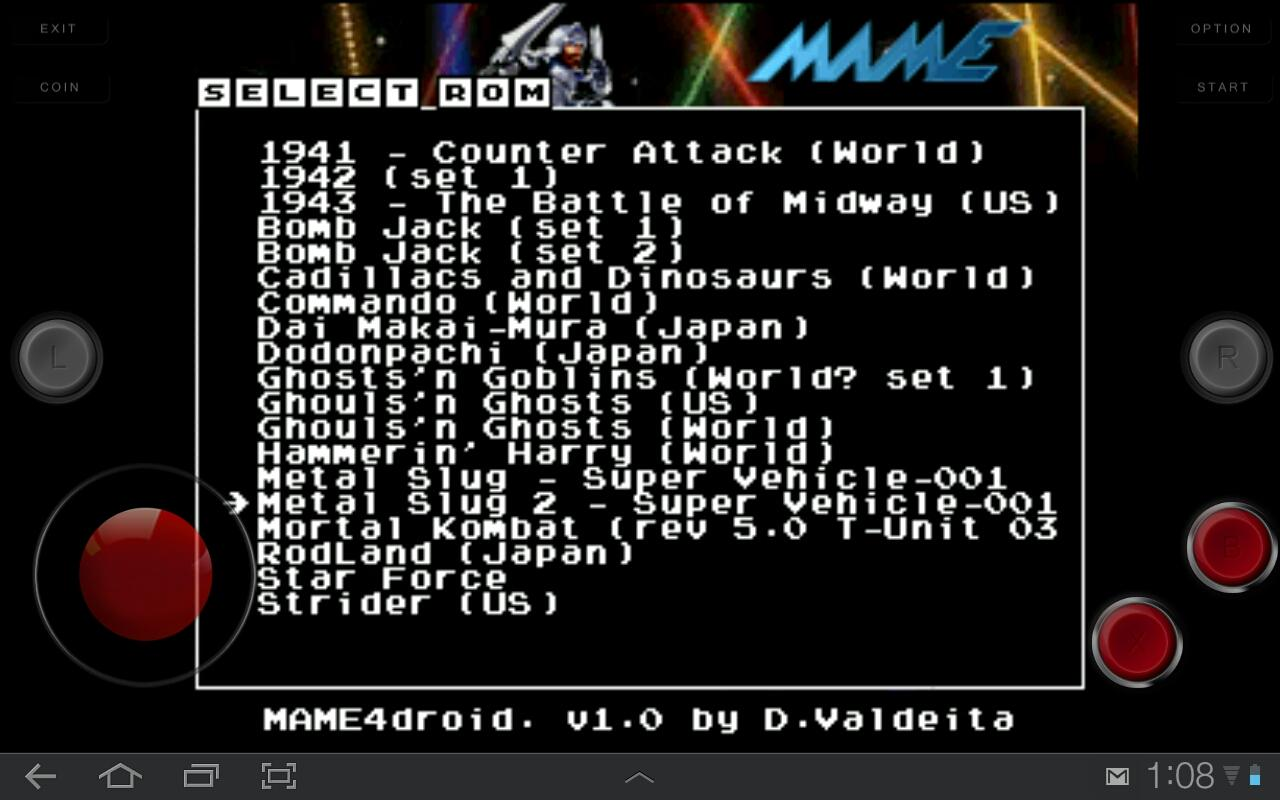 MAME4droid (0.37b5): captura de tela