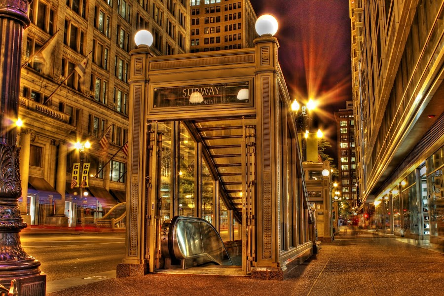 Red Line by Amber Raab - Buildings & Architecture Other Exteriors ( red line, hdr, red line station, city at night, chicago l )