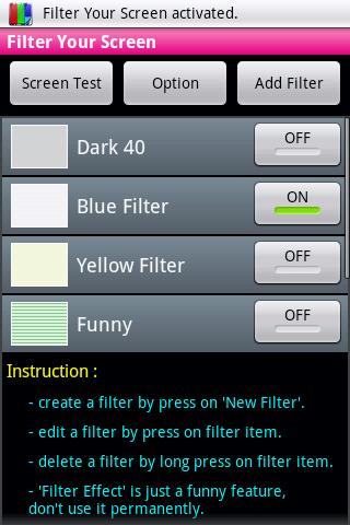 Filter Your Screen  - Free!- screenshot