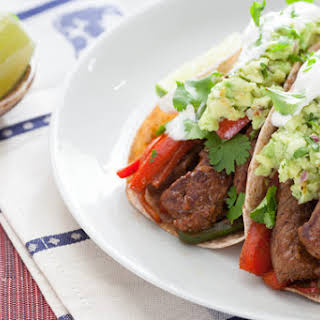 Top Round Steak Fajitas with Guacamole & Whole Wheat Tortillas.