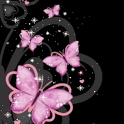 Glitter Pink Butterflies Love icon