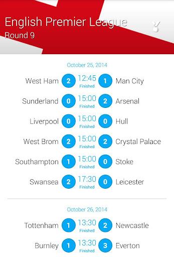 Premiere League Fixtures