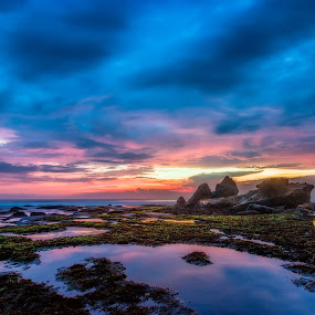 sunset 1 by Yossy Ryananta - Landscapes Beaches ( sky, indonesia, stone, cloud, beach )