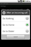 Screenshot of On Call End (not call log)