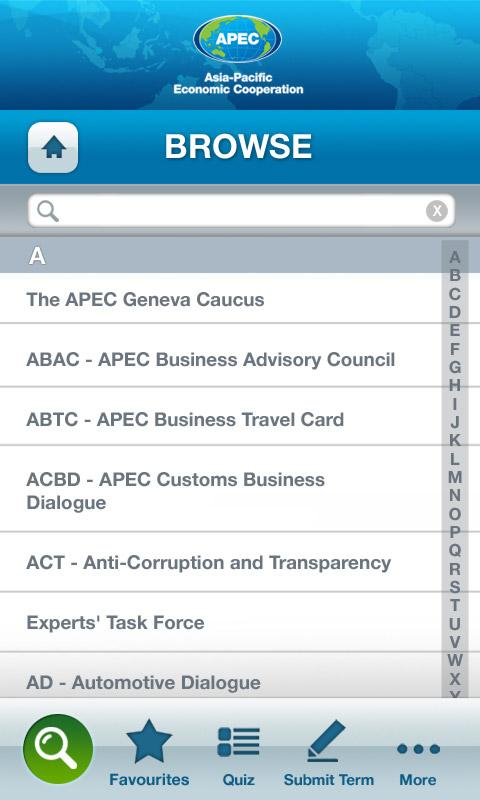 APEC Glossary- screenshot