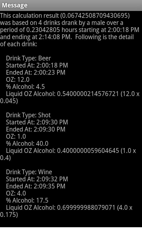 Blood Alcohol Estimator - screenshot
