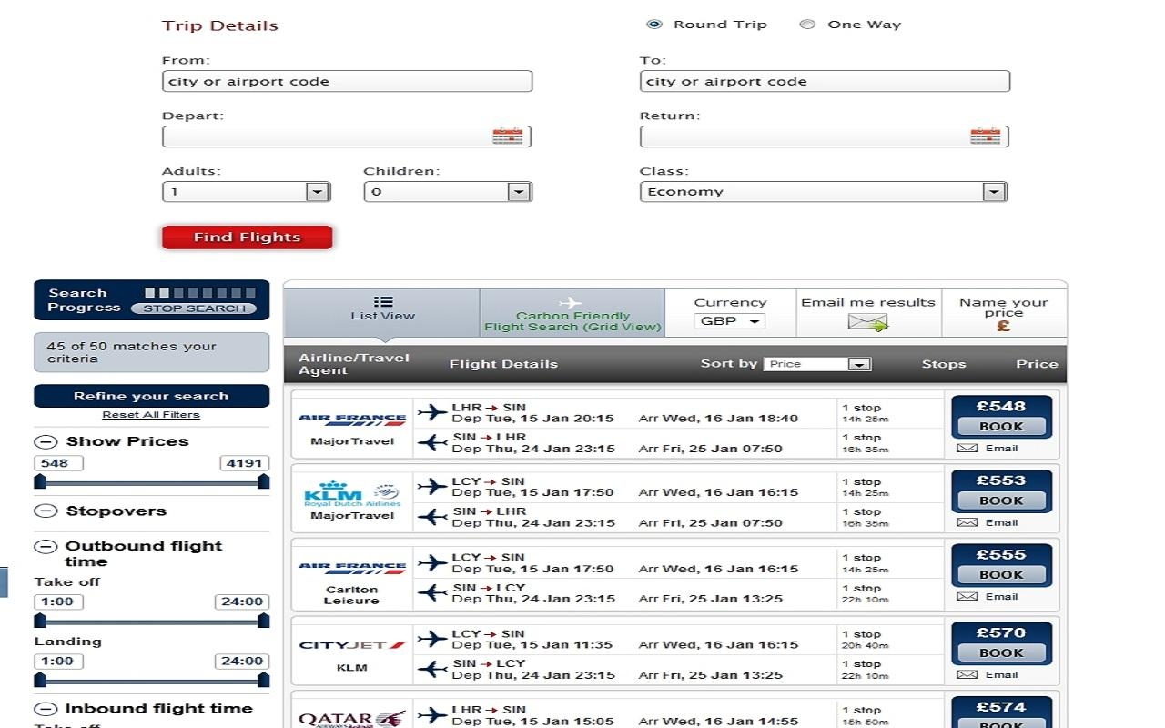 Business Flights & Travel - screenshot