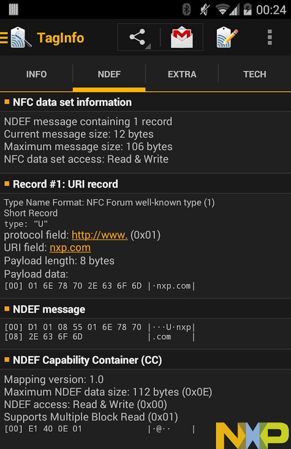 NFC TagInfo by NXP- screenshot