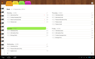 Screenshot of Diary (Timetable)
