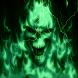 Glowing Green Lightning Skull