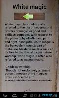 Screenshot of White Magic spells and rituals