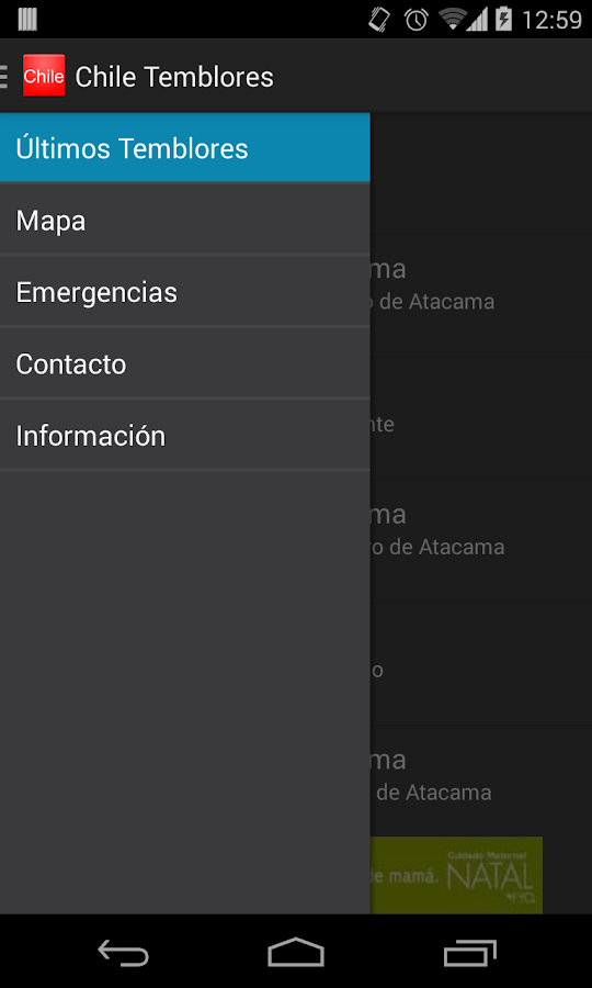 ChileTemblores- screenshot