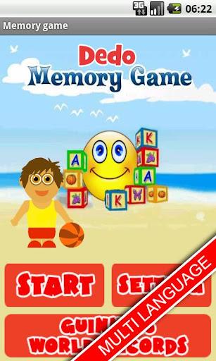 Dedo Memory Game - kids FREE