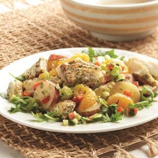 Warm Potato Salad with Halibut and Arugula