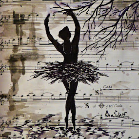 The Black Swan by Amas Art - Drawing All Drawing ( music, paper, swan, rain, black, ink )