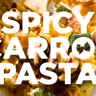 Spicy Chicken Pasta with Zucchini, Mushrooms and Crispy Confit Chicken Skin.