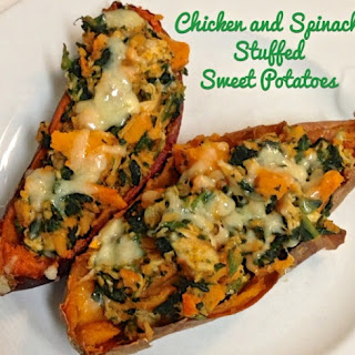 Chicken And Spinach Stuffed Sweet Potatoes