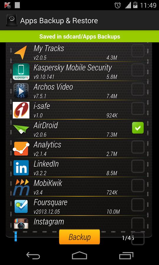 Apps Backup & Restore- screenshot