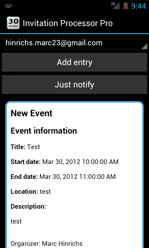 Invitation Processor- screenshot