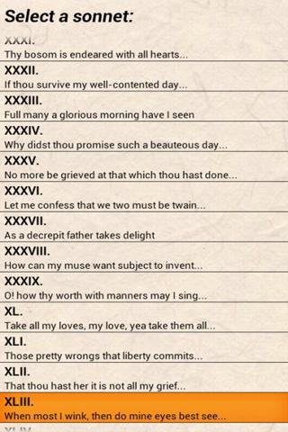 Shakespeare Sonnet Trainer- screenshot