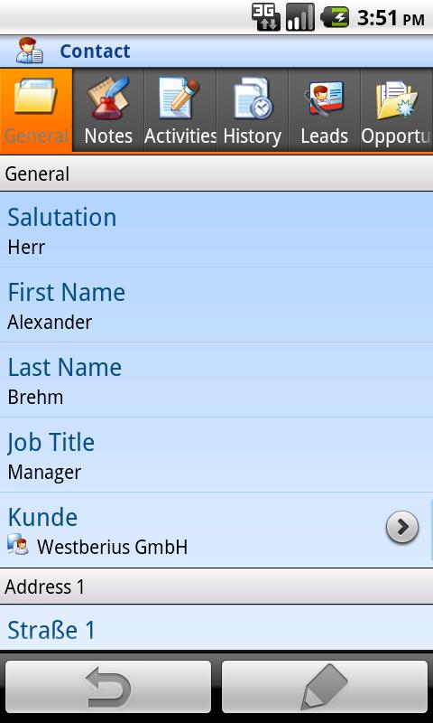 Mobile Client MS Dynamics CRM- screenshot