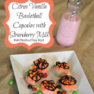 Citrus Vanilla Basketball Cupcakes with Strawberry Milk.