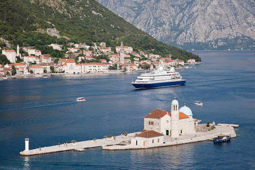 SeaDreamII-in-Kotor-Montenegro - SeaDream II sails through the harbor of historic Kotor, Montenegro.