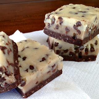 Raw, No Bake Chocolate Chip Cookie Dough Brownie.