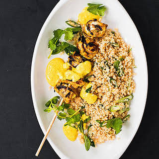 Curried Chicken Kebabs With Minty Couscous.