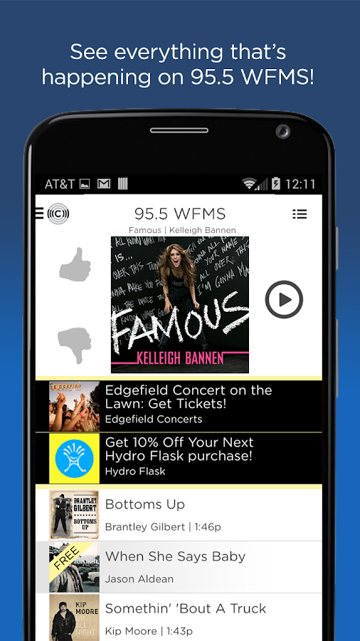 WFMS 95.5 Radio App- screenshot