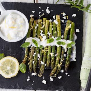 Asparagus with Feta Yogurt Mint Dressing.
