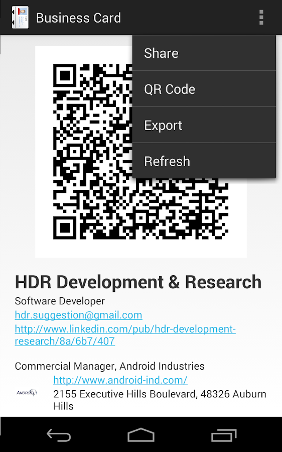 Free business card android apps on google play free business card screenshot reheart Images