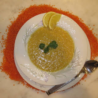 Lemony Red Lentil Soup with Coriander, Cumin & Garlic (Addes Soup).