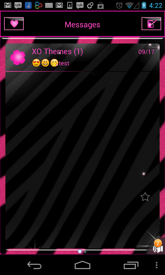 GO SMS PRO Pink Zebra theme- screenshot