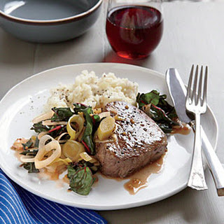 Seared Steak with Braised Leeks and Chard