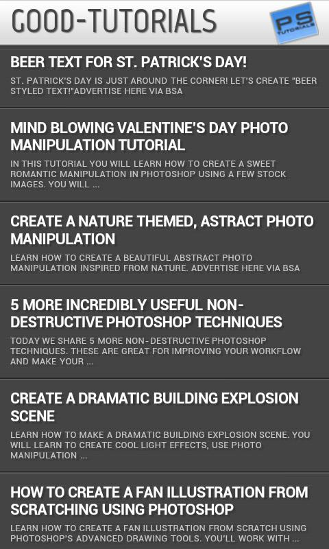 Photoshop Tutorials - screenshot
