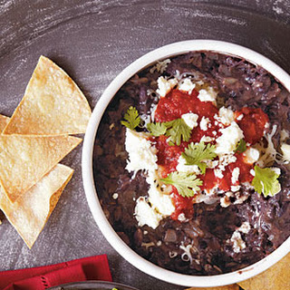 Chipotle Black Bean Dip with Corn Chips.